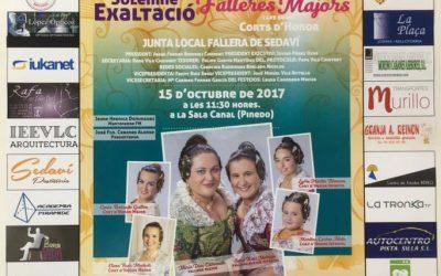 Cartel informativo de la Exaltación de las Falleras Mayores de la Junta Local Fallera de Sedaví